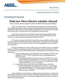 Metra Electric PTC Schedule News Release