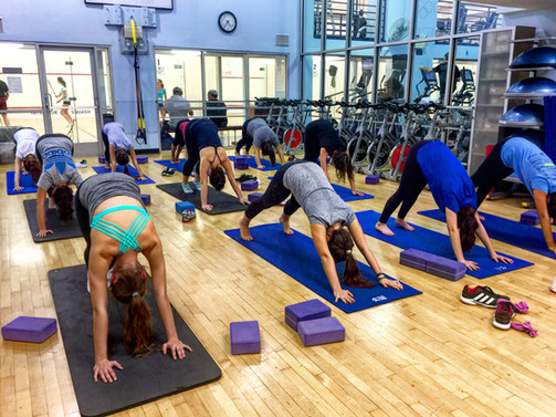 Yoga with the Hewitt Squash Team