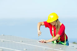 Woman Installing PV Panels, 017680342.jp