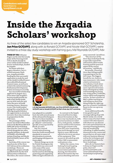Art and Framing Today Fine Art Trade Guild Masgazine article by Jon Price GCF (APF) of Handmade Picture Framing, Bude, Cornwall.g