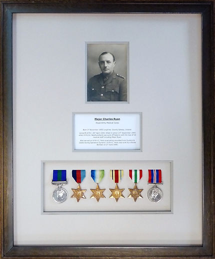 World War 2 medals and photograph conservation picture framed with museum mountboards by Cornwall Picture Framers Handmade Framing and Gallery, Bude.