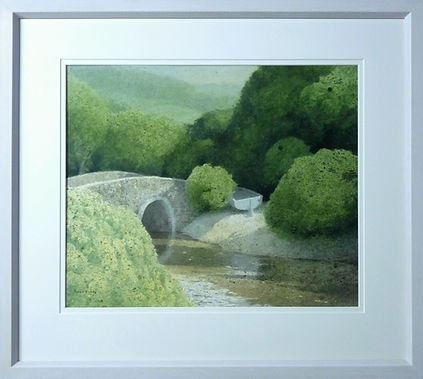 Kevin Hughes artist water colour, picture framed with plain white gallery style frame, soft white double conservation mount and museum glass by Handmade Framing and Gallery, Bude, North Cornwall.