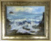 Oil painting framed with two frames joined together.
