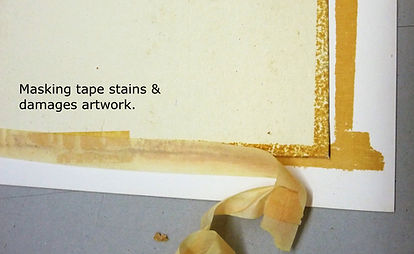 Damage and staining to artwork caused by masking tape.