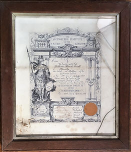 Antique oak picture frame, with gold frame slip, and certificate before cleaning, conservation and restoration at Handmade Framing and Gallery, Bude, Cornwall.