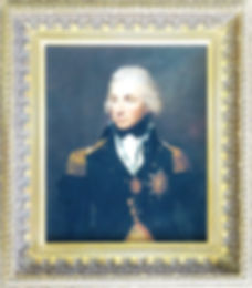Fine Art oil on canvas portrait of Nelson framed with detailed ornate gold picture frame by Handmade Framing and Gallery, Bude, Cornwall.