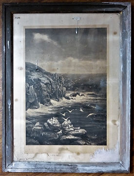 Antique picture and frame before restoration. Water damaged and damaged by acidic framing materials.