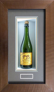 Framed bottle. Wine, cider, champagne, beer bottle framing.