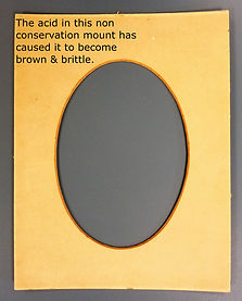 oval pitureframe mount damage by acidic picture framing materials