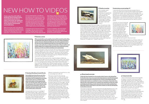 4Walls framing magazine Master Class article by Jon Price GCF (APF) of Handmade Framing and Gallery, Bude, Cornwall.