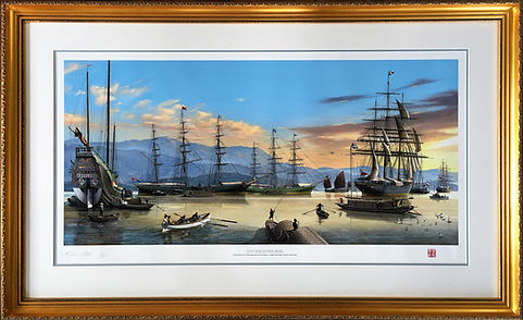 Tall ships limited edition print framed using preservation picture framing techniques with double conservation picture framing mount and classic gold picture frame.
