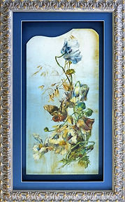 Ornate decorated victorian dresser panel bespoke picture framed with ornate gold frame, shadow mount and conservation glass.
