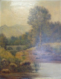Oil painting before cleaning and restoration.