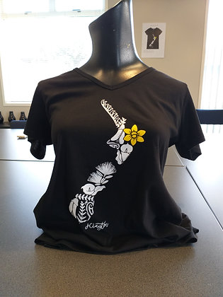 2019 Daffodil Teeshirt - Black V-Neck (S to XL)