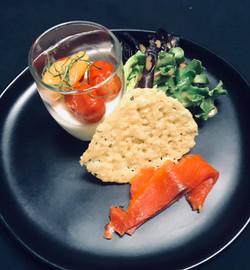 House Cured Salmon Gravlax, Goat Cheese Panna Cotta & Parmesan Crisp