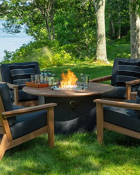 Seaside Casual Furniture Aura Fire Table DEX Club Chair