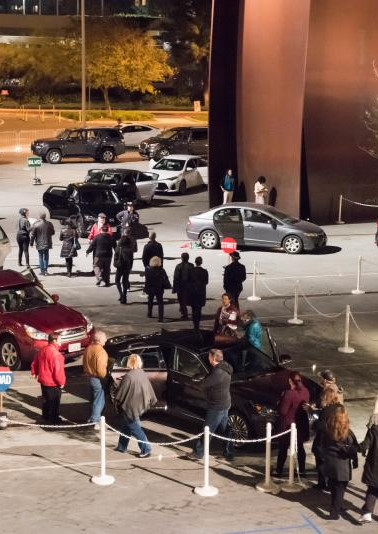 """""""The Car Plays"""" - How it works: 15 cars, 3 rows, 5 in a row—actors perform the same 10-minute one-act in a car, 5 times an hour, 20 per night. (audience in back seat—they move from car to car every 10 minutes) • Segerstrom Center for the Arts, Costa Mesa"""