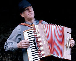 Les Thompson, accordionist in Amber Fire Ceilidh Band Devon