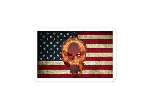 American Flag Q Patriot - Sticker
