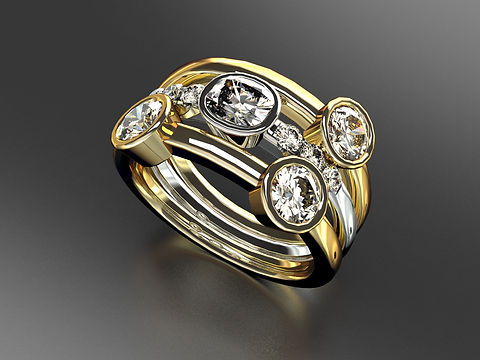 Platinum and 18ct Yellow Gold Bubble ring with Old Cut and Brilliant cut diamonds