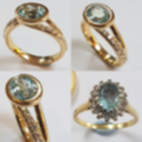 18ct yellow Gold Aquamarine ring with pave diamond shank