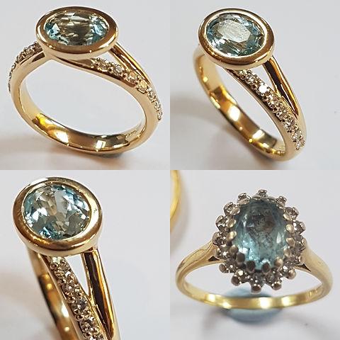 18ct yellow Gold Aquamarine ring with pave diamond shank