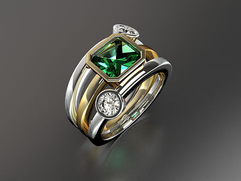 Platinum and yellow gold Emerald cut Emerald and diamond ring