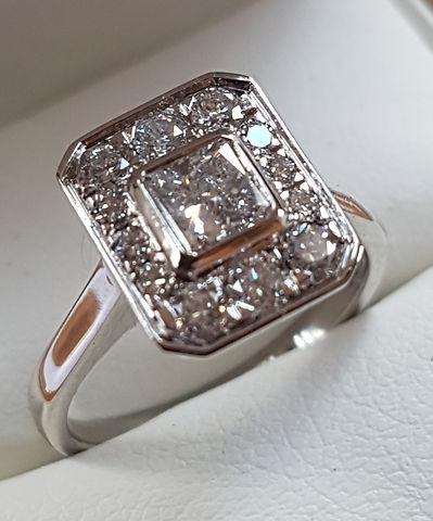 Platinum Princess cut Halo Engagement ring and matching wedding band