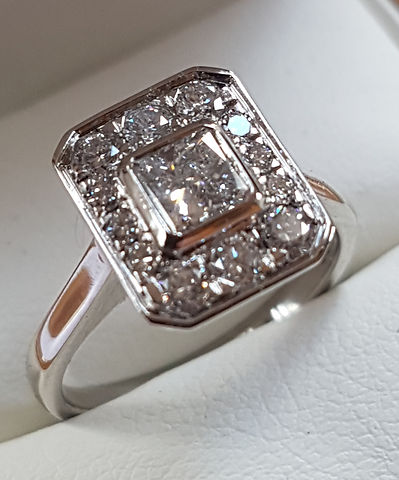 Platinum Princess cut Halo Engagement ring and matching wedding band