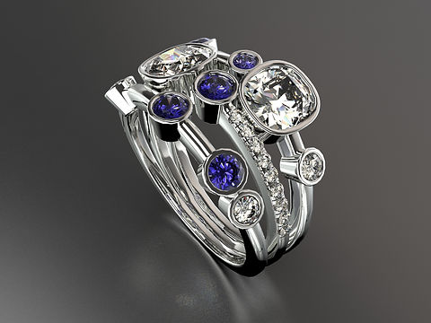 Platinum Old cut diamond and sapphire Bubble ring with pave diamonds