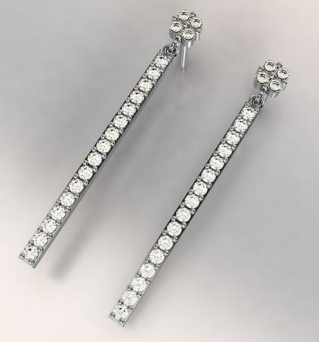 Long Pave Diamond earrings