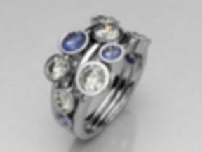 Diamond and Sapphire multi stone ring