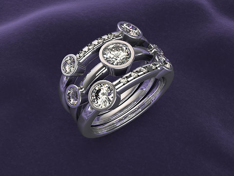 Platinum Diamond Star Waterfall ring