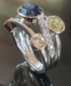 Platinum Large Sapphire diamond multi stone ring