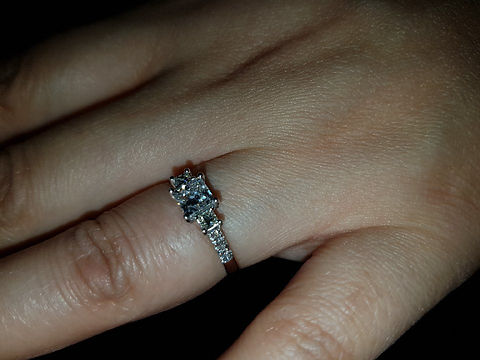 Princess cut Engagement ring with pave