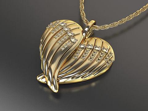 Angel Wing Heart Pendant
