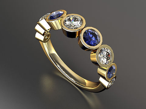 18ct yellow gold Diamond and sapphire half eternity ring