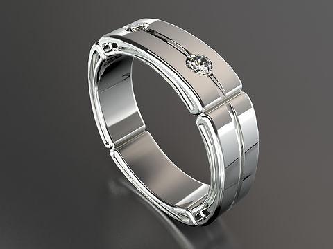 Platinum Deco style Engagement ring with Princess cuts, baguette and brilliant cut diamonds