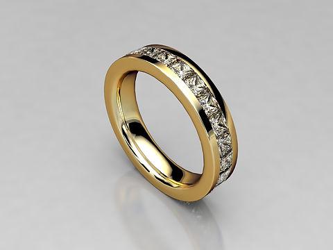 18ct Yellow gold Full Diamond Princess cut eternity