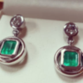 Emerald ring and Matching earrings