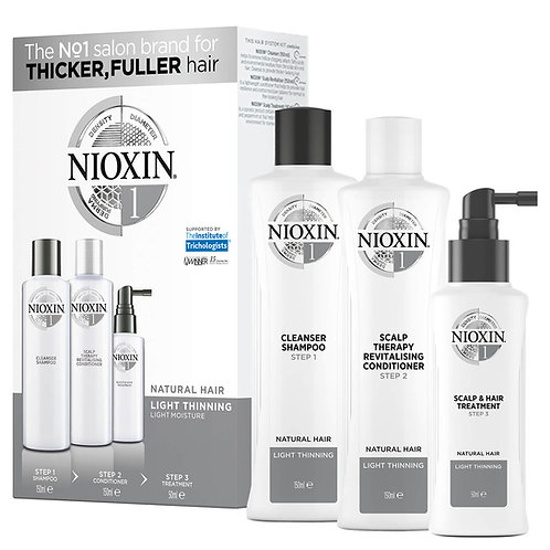 NIOXIN 3-Part System 1 Trial Kit for Natural Hair with Light Thinning