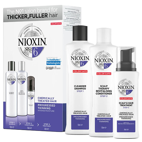 NIOXIN 3-Part System 6 Trial Kit for Chemically Treated Hair with Progressed Thi