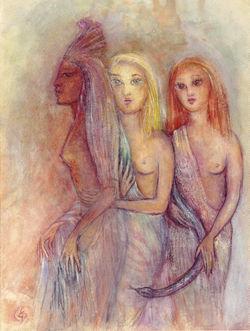 Drei Frauen mit Schlange