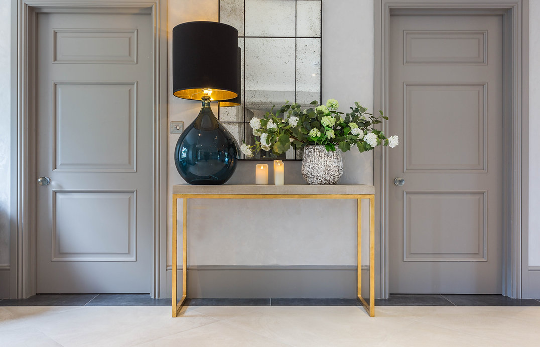Beautiful, Luxury, Elegant, Entrance Hall, Greytones, Teal, Console table, oversized table lamp, Crittle Mirrror.