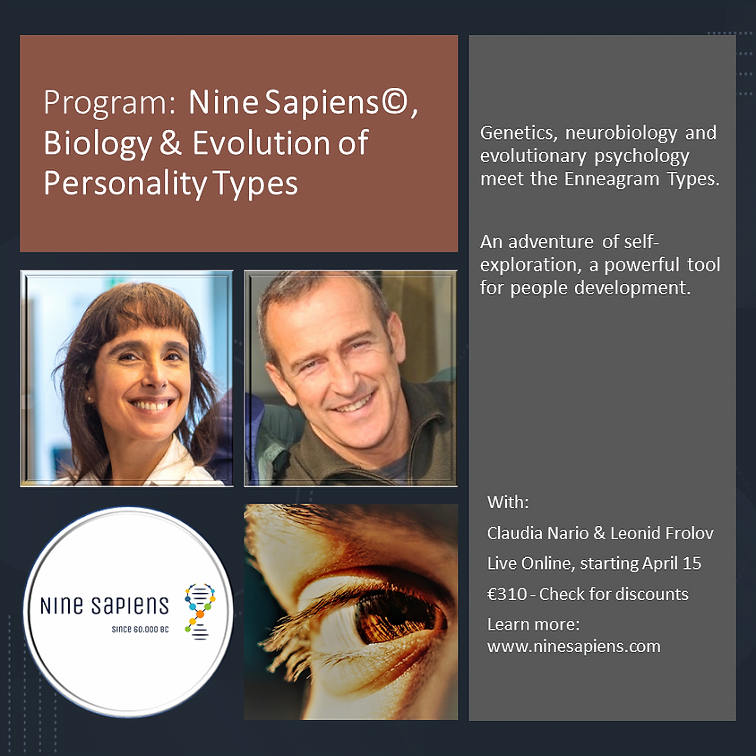 Programa: Nine Sapiens, Biología & Evolución de los Tipos de Personalidad