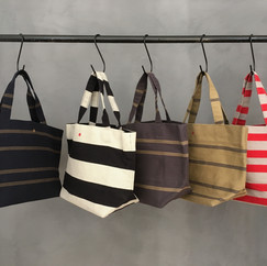Recycled Cotton Stripes Tote Small with Fabric Handles