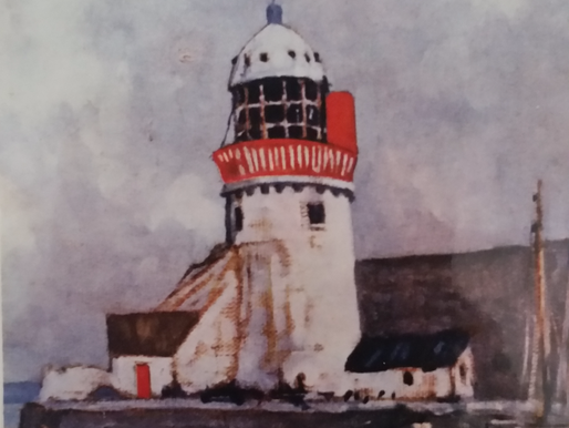 Painting of Balbriggan Lighthouse with Original Dome.
