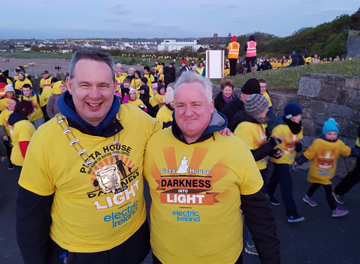 Mayor of Fingal, Councillor Darragh Butler  walks the Skerries Darkness into Light