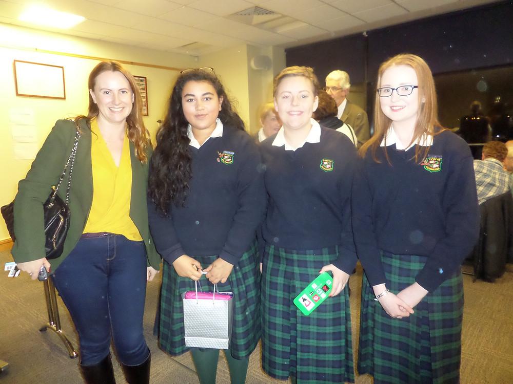 Teacher Fiona Mc Master with Lubna, Holly, and Eibhlin