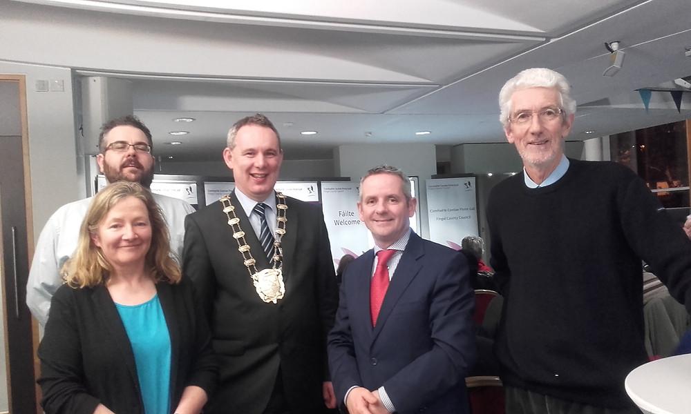 Cllr Daire Ní Laoi, Cllr Paul Mulville,  Mayor of Fingal Cllr Darragh Butler,  Chief Executive Fingal CoCo Paul Reid, Cllr David O'COnnor